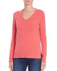 Saks Fifth Avenue - Pink Cashmere V-neck Sweater - Lyst