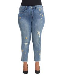 Seven7 - Blue High-rise Ankle Skinny Jeans - Lyst
