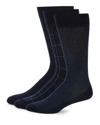 Saks Fifth Avenue - Black Three Pack Cotton Socks for Men - Lyst