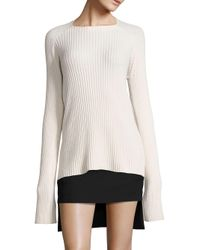 Haider Ackermann - White Wool Ribbed Sweater - Lyst
