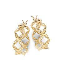 Mizuki - Metallic Sea Of Beauty Diamond & 14k Gold Hoop Earrings- 0.75in - Lyst