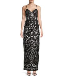 Adrianna Papell - Black Sequin-embellished Floor-length Dress - Lyst