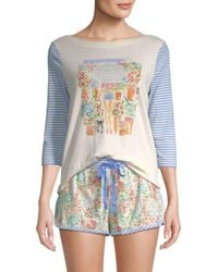 Jane And Bleecker Blue Two-piece Striped Graphic Shorty Pajama Set