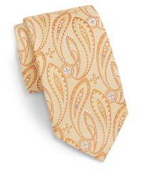 Saks Fifth Avenue - Yellow Paisley Neat Silk Tie for Men - Lyst