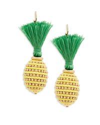 Natasha Couture - Yellow Pineapple Tassel Earrings - Lyst