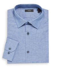 Theory - Blue Textured Linen-cotton Dress Shirt for Men - Lyst