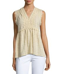Max Studio - Multicolor Sleeveless Cotton Dobby Blouse - Lyst