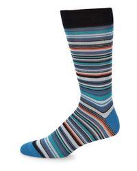 Saks Fifth Avenue - Blue Multi-color Stripe Cotton Socks - Lyst