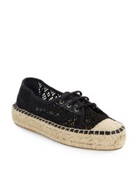 Diane von Furstenberg - Black Tareena Crocheted Lace-up Espadrilles - Lyst