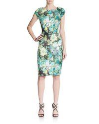 Eci - Green Floral-print Sheath Dress - Lyst
