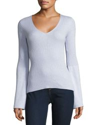 French Connection - Gray Long-sleeve Ribbed Top - Lyst