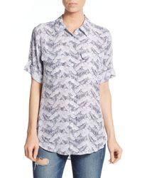 Equipment - White Leaf-print Silk Roll-tab Sleeve Shirt - Lyst