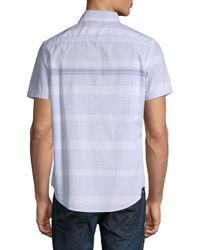 Calvin Klein Jeans - White Striped Short-sleeve Cotton Button-down Shirt for Men - Lyst