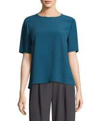 Eileen Fisher - Blue Crepe Relaxed-fit Tee - Lyst
