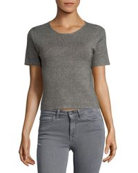 Saks Fifth Avenue - Gray Cropped T-shirt - Lyst