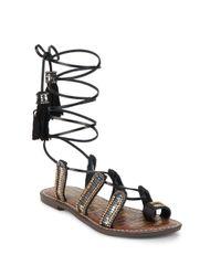 Sam Edelman - Black Lasky Tasseled Gladiator Sandals - Lyst