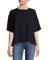 Vince - Blue Silk Rib Neck T-shirt - Lyst