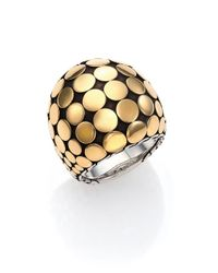 John Hardy - Metallic Dot 18k Yellow Gold & Sterling Silver Dome Ring - Lyst