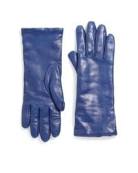 Saks Fifth Avenue - Blue Cashmere-lined Leather Gloves - Lyst