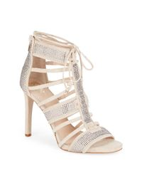 Vince Camuto - Natural Ricarda Rhinestone-embellished Suede Sandals - Lyst