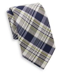 Saks Fifth Avenue - Blue Madras Plaid Cotton & Silk Tie for Men - Lyst