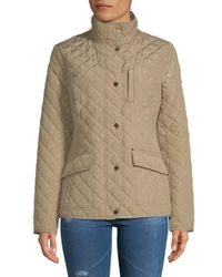 MICHAEL Michael Kors - Natural Button-up Quilted Jacket - Lyst