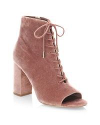 Joie - Purple Lakia Lace-up Velvet Ankle Boots - Lyst