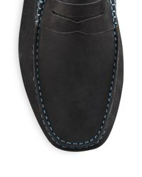 Saks Fifth Avenue - Blue Suede Penny Drivers for Men - Lyst