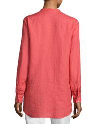 Eileen Fisher - Pink Linen Mandarin Collar Shirt - Lyst