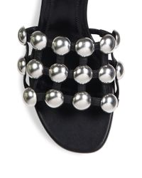 Alexander Wang - Black Lou Tilt-heel Studded Leather Slides - Lyst