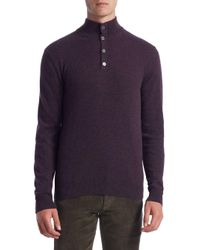 Saks Fifth Avenue - Blue Collection Cashmere Mockneck Elbow Patch Sweater for Men - Lyst
