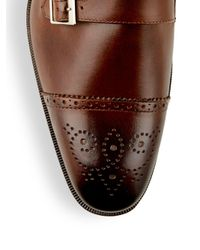 Saks Fifth Avenue - Brown Double Monk-strap Leather Shoes for Men - Lyst