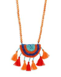 Panacea - Multicolor Beaded Tassel Pendant Necklace - Lyst