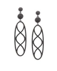 Saks Fifth Avenue - Black Cubic Zirconia Drop Earrings - Lyst