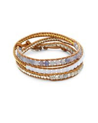 Chan Luu - Brown Multi-stone & Leather Wrap Bracelet - Lyst