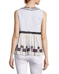 Suno - White Embroidered Cotton Leaf Sleeveless Top - Lyst