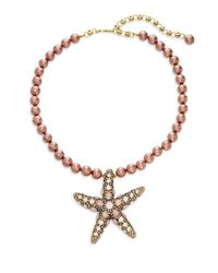 Heidi Daus - Metallic Faux Pearl Crystal Starfish Pendant Necklace - Lyst