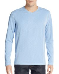 Saks Fifth Avenue - Blue Knit V-neck Top for Men - Lyst