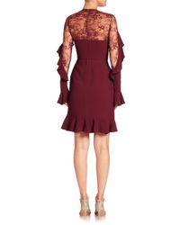 Elie Saab - Red Asymmetrical Ruffled Lace Dress - Lyst