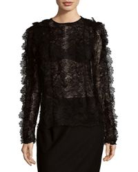 Givenchy - Black Floral Lace Top - Lyst