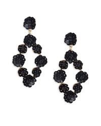 Gemma Simone - Black Sequin Drop Earrings - Lyst
