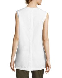 Donna Karan - White Solid Sleeveless Top - Lyst