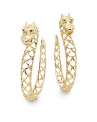 John Hardy - Metallic Naga 18k Yellow Gold Dragon Hoop Earrings - Lyst