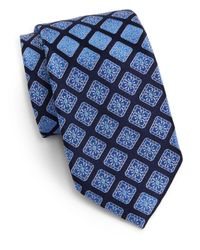 Saks Fifth Avenue | Blue Diamond Medallion Silk Tie for Men | Lyst