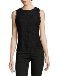 Saks Fifth Avenue Black - Black Lace Sleeveless Blouse - Lyst