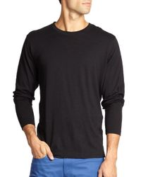 Saks Fifth Avenue - Black Long-sleeved Cotton Tee for Men - Lyst