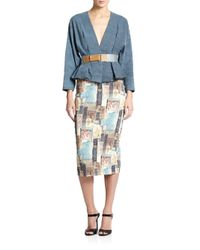 Donna Karan - Blue Frayed-hem Belted Jacket - Lyst