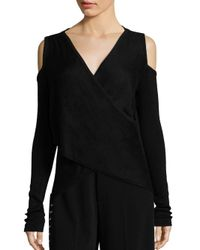 10 Crosby Derek Lam - Black Cross Front Silk & Cashmere Blend Sweater - Lyst