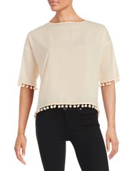 French Connection - Black Pompom-trim Crepe Top - Lyst