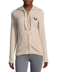 True Religion - Natural Classic Zip Hoodie - Lyst